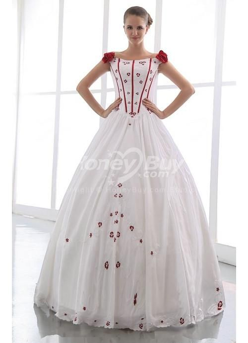 Ball Gown Flower Trimed Vintage Style Wedding Dresses Colored ...