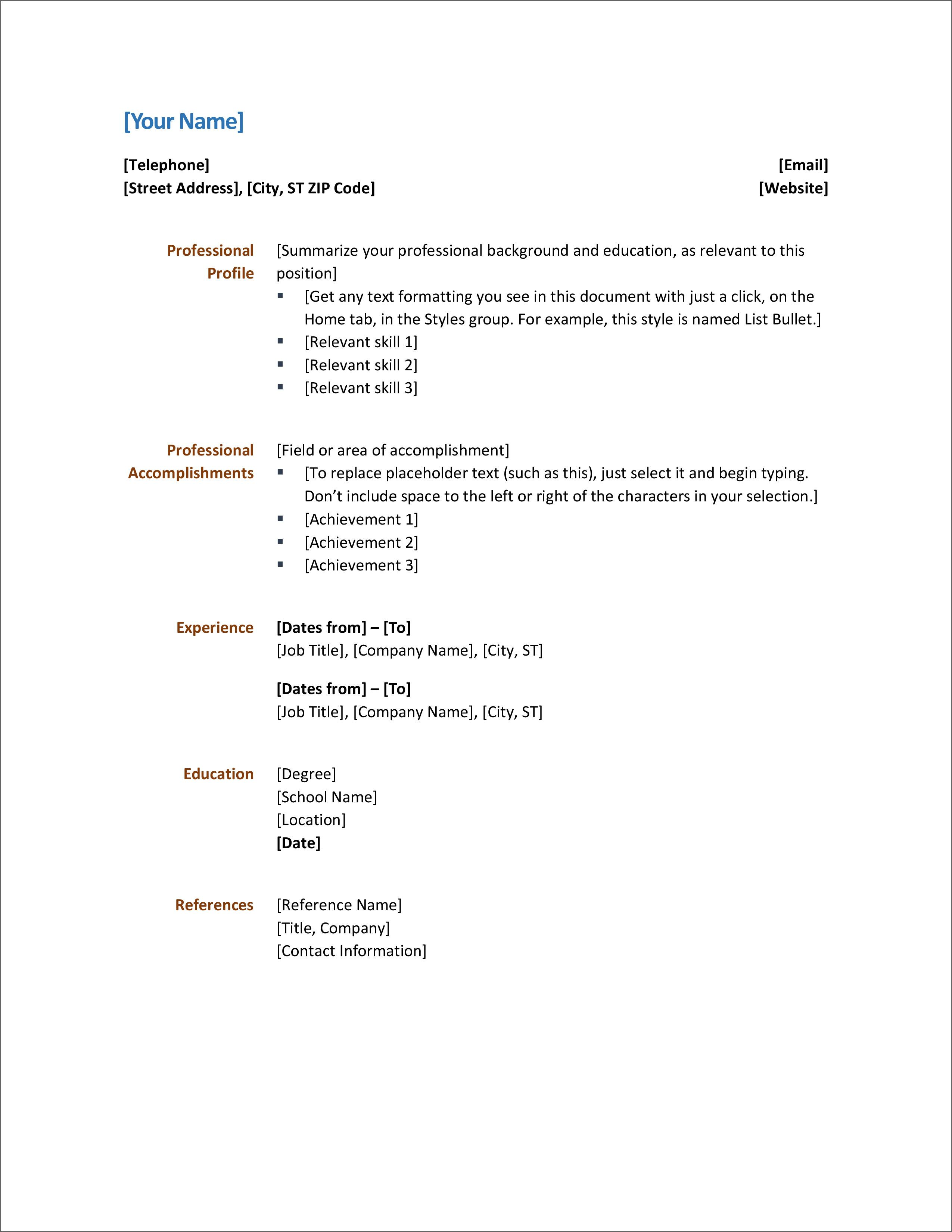 Modern Simple Word Document Resume Templates In 2020 With Images