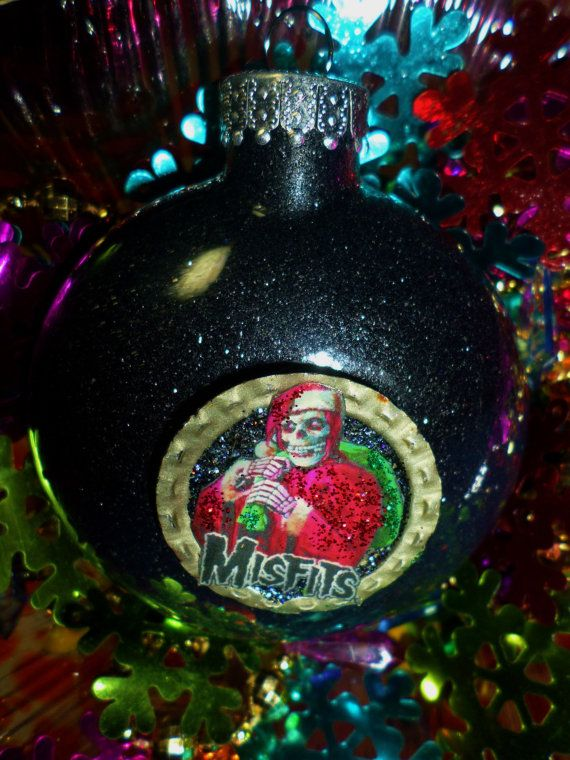 misfits glass black glitter resin christmas ornament ooak holiday decoration gift heavy metal hard rock guitar - Heavy Metal Christmas Decorations