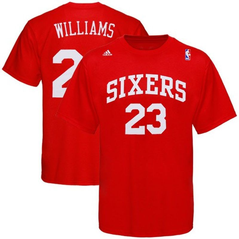 new style 51cd7 0ab25 adidas Philadelphia 76ers #23 Lou Williams Red Player T ...