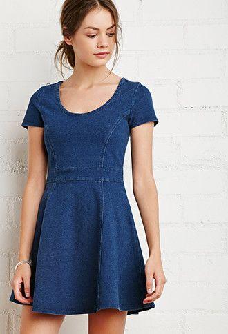 Denim Fit & Flare Dress   Forever 21 - 2000142203