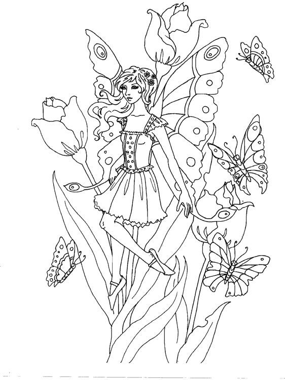 Cute Coloring Pages Fairy For Adults Kids Adult Books Amy Brown Fairies Baby Painting Magic