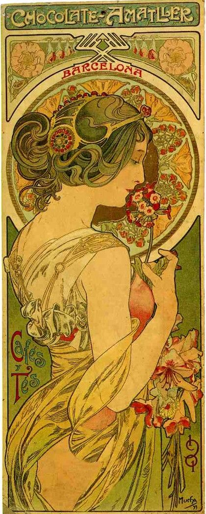 Cartel de chocolates Amatller, 1901, Alphonse Mucha.