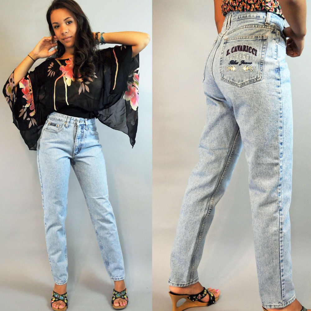 80s Vintage HIGH WAIST jeans / distressed faded Z CAVARICCI denim ...