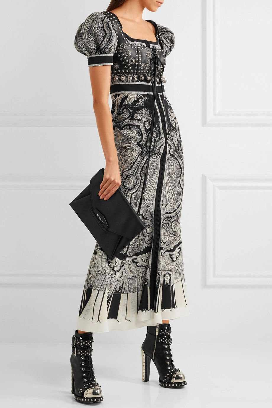 Printed Crepe Midi Dress - Black Alexander McQueen BFoMu