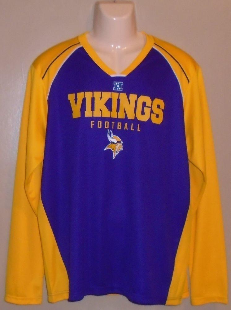 NFL Minnesota Vikings Football Jersey Shirt Long Sleeve Purple