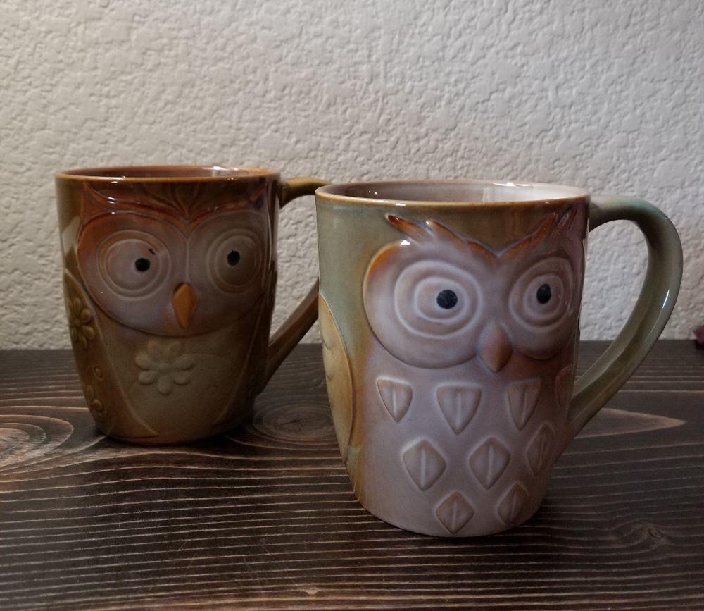 Set of 2 Elite Couture by Gibson OWL Coffee Tea Mug Cup Green Brown 14oz #EliteCouturebyGibson ...