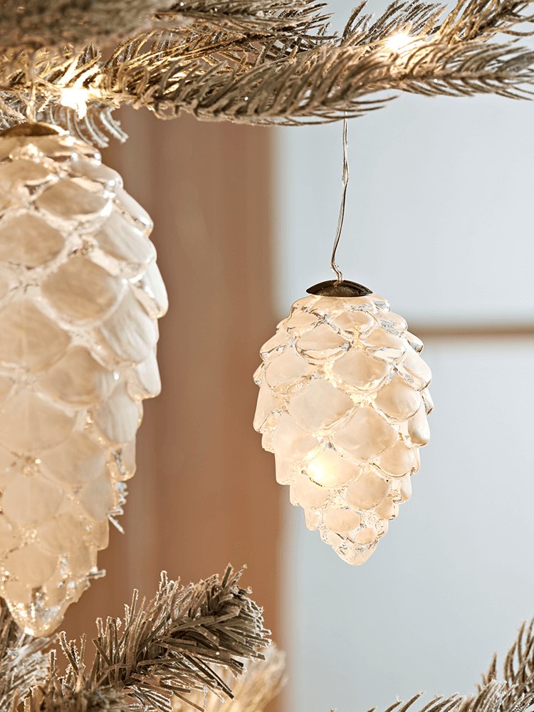 Light Up Frosted Pinecone   Small | Cox U0026 Cox