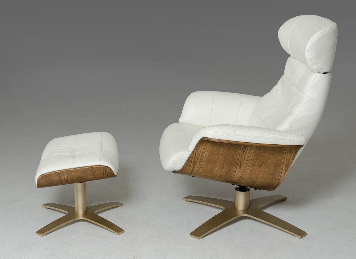 Divani Casa Charles Mid Century White Leather Reclining Chair W