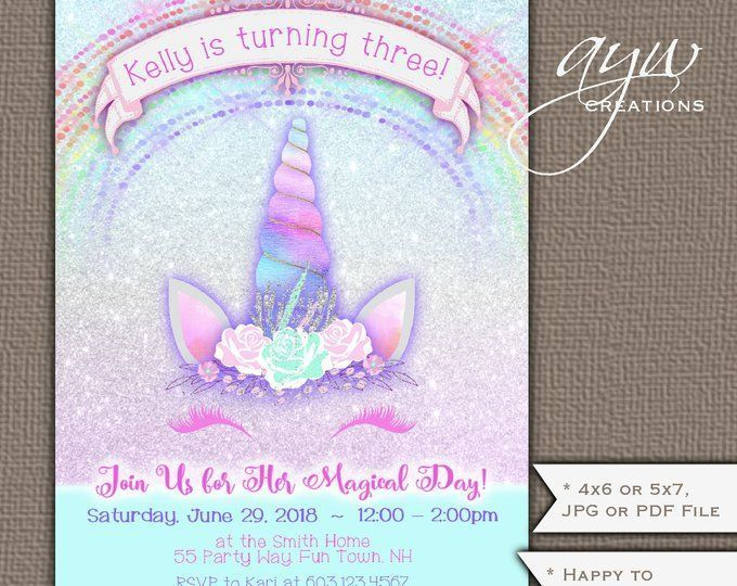 Unicorn Birthday Party Invitation Girl 3rd Face Invites With Sparkles And Glitter