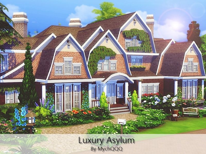 Luxury Asylum Is A Huge Family House Perfect For Big Family Built On 50x50 Lot In Willow Creek Found In Tsr Ca Sims 4 Family House Sims House The Sims 4 Lots