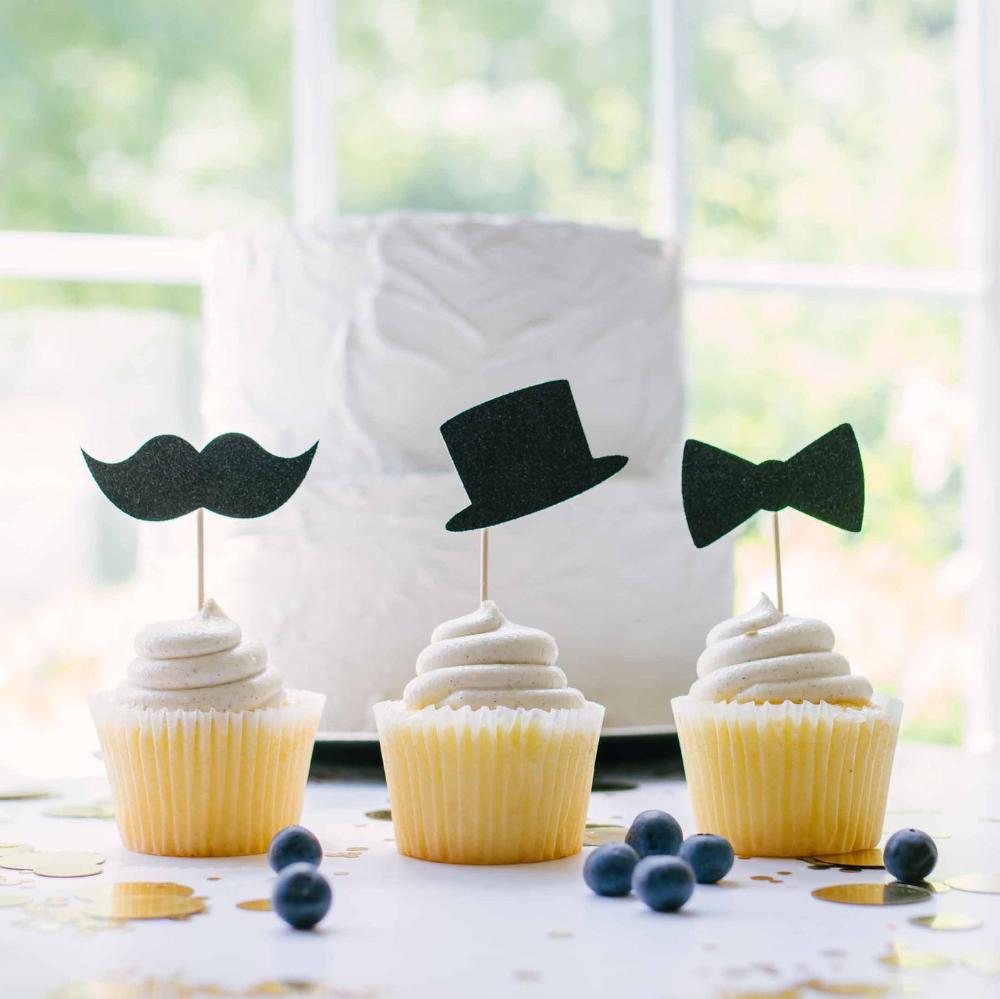 Bowtie Mustache Stache Cupcake Toppers-Little Man Cupcake Toppers-Little Man Baby Shower Birthday Cupcake Toppers-In your colors-Little man