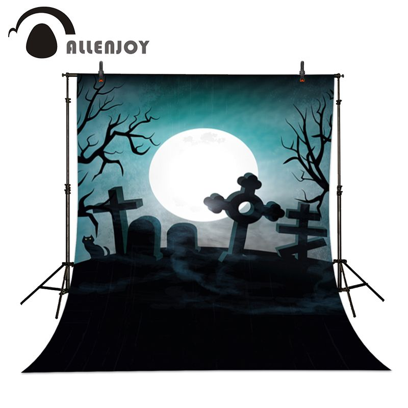Click to Buy \u003c\u003c Allenjoy Photographic backdrop Black Cat Moon - halloween backdrop