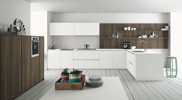 Moderne Küche \/ Glas \/ aus Eiche \/ Holzfurnier - ASPEN - DOIMO - moderne kuche
