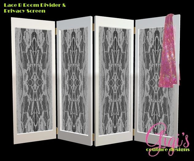 A dainty, white room divider or privacy screen. Semi sheer with a draped,  sequin clothing item hanging over the edge for a beautiful display in any. - Privacy Dressing Screens SEMI SHEER ROOM DIVIDER AND PRIVACY