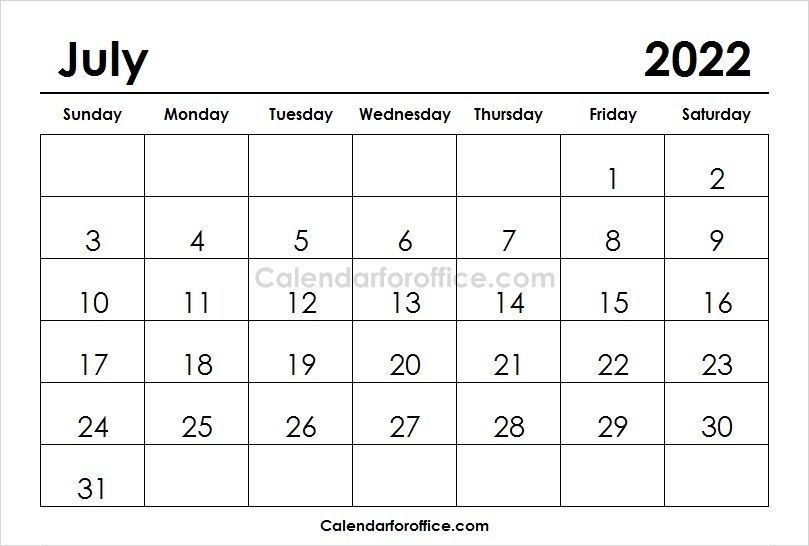 July 2022 Calendar Printable Calendar Template Calendar Printables Monthly Planner Template