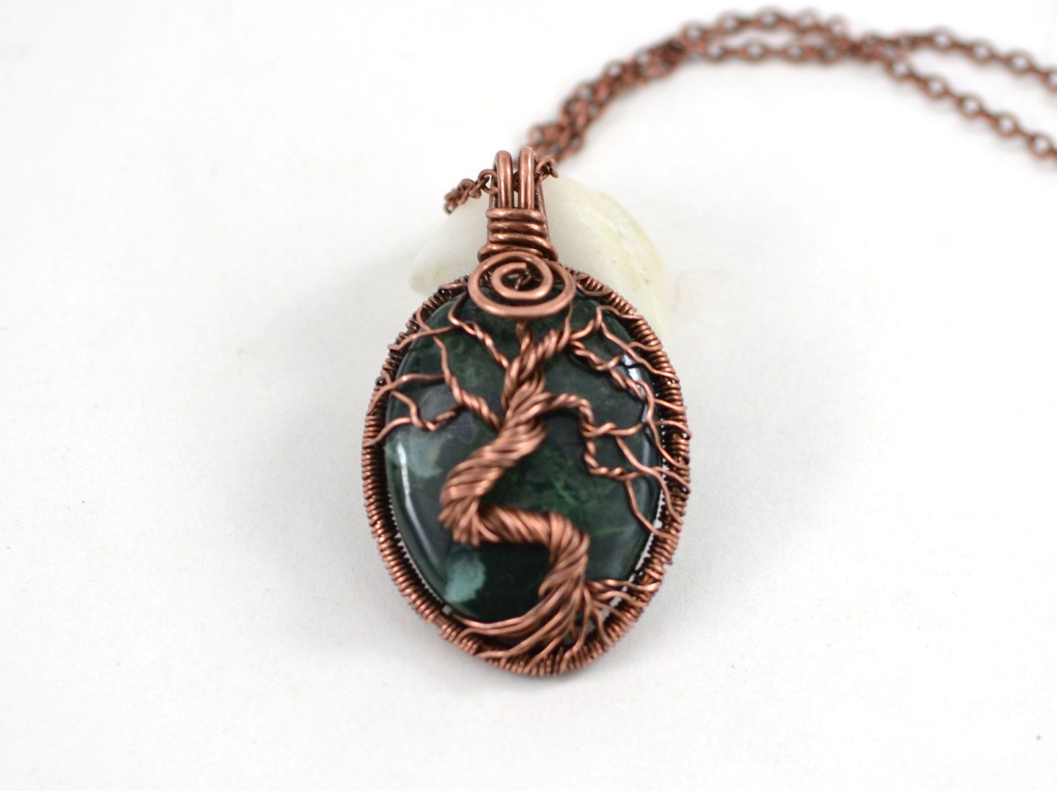 Green Agate Wrapped Tree-Of-Life Pendant Copper Pendant Wired Copper ...