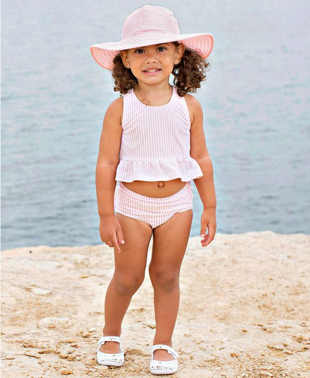 5ebf43b0333 Pink Seersucker Swim Hat - Rufflebutts.com Can it get any cuter  We love  this cute Seersucker Swim for your little girl! Not to mention it s UPF 50+  ...