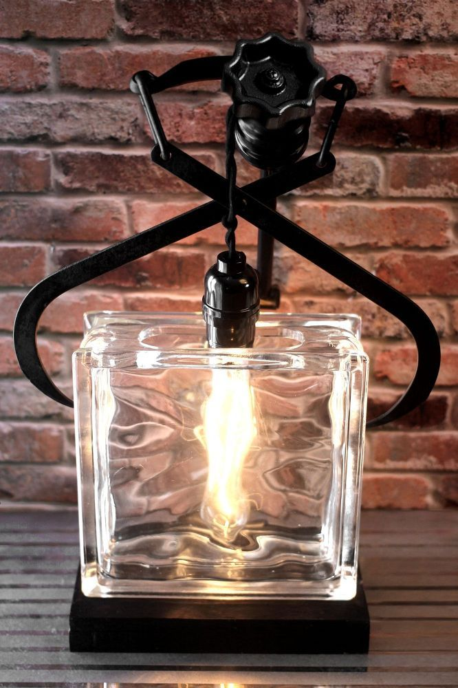 repurposed lighting. Repurposed Vintage Ice Clamp / Industrial Glass Block Table Lamp Lighting