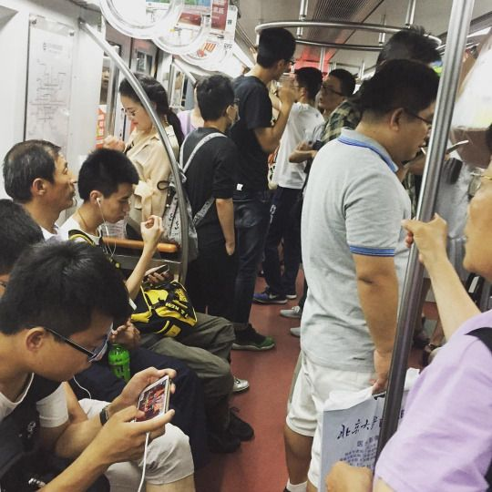 Beijing Subway Scene. Not so different than NYC except nicer, newer, cleaner and about 10% the price for a fare. Mark Ruffalo