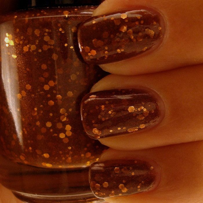 Chocolate Toffee Crunch Brown Nail by ChaosAndCrocodiles