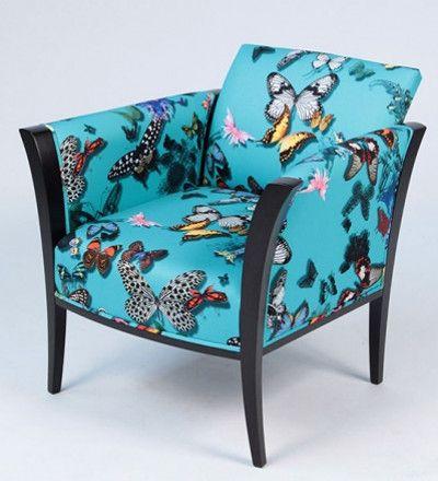 fauteuil tonneau tissu nutterfly parade christian lacroix vendu par la rime des matieres. Black Bedroom Furniture Sets. Home Design Ideas