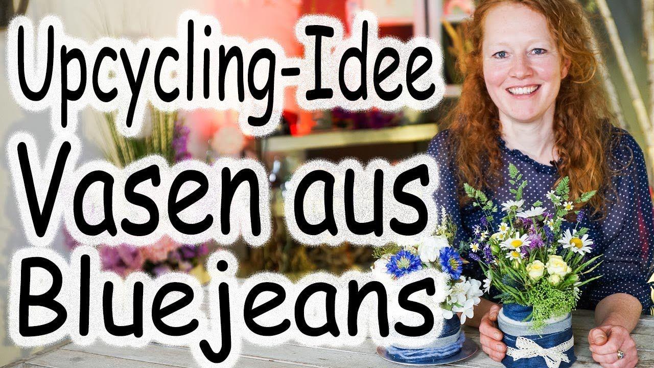 Upcycling-Idee Jeans Vase   Denim Tischdeko   DIY Blumenvase   Tischdeko...