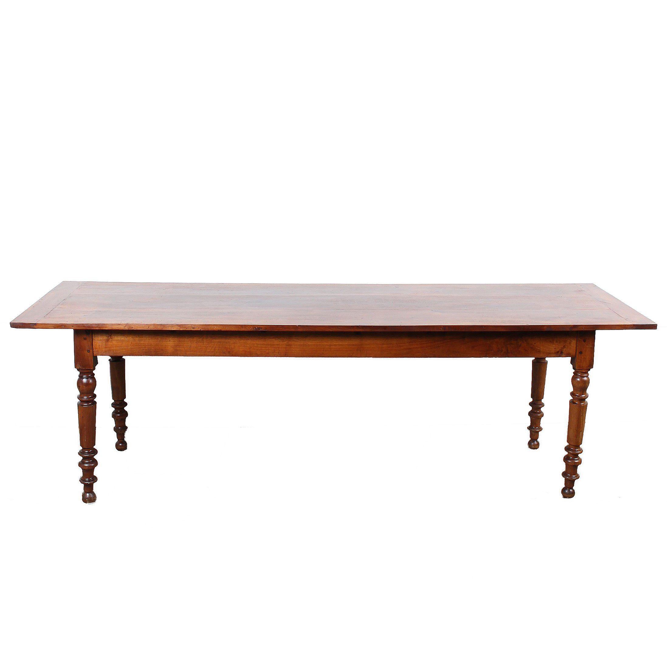 Long Narrow 19th c. French Walnut Farm Table French