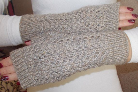 Knitted Gloves Without Fingers Knit Openwork Pattern Gloves Without
