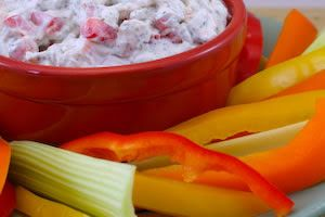 Heart-Healthy Shrimp Dip served with Veggie Dippers [from Kalyn's Kitchen]