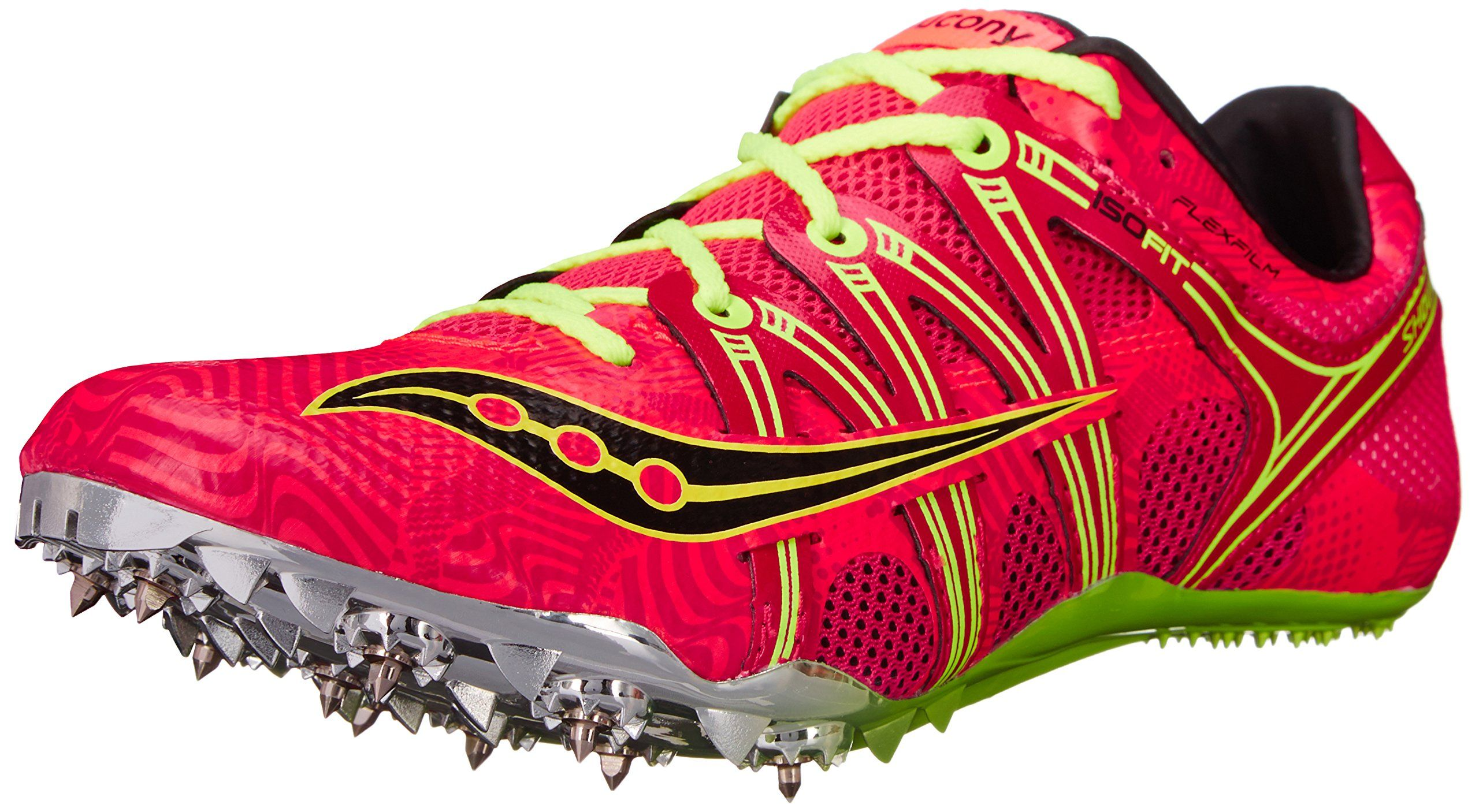 Saucony Women's Showdown Spike Shoe, Coral/Citron, 11 M US. Lightweight sprint spike featuring ISOFIT lacing system and high-performance fit.