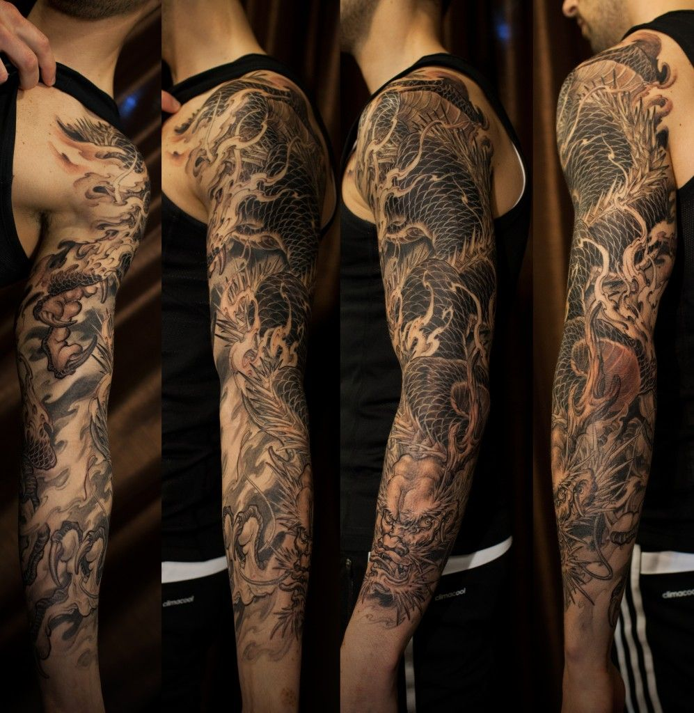 western dragon tattoo sleeve google search tattoos pinterest gray and tattoo. Black Bedroom Furniture Sets. Home Design Ideas