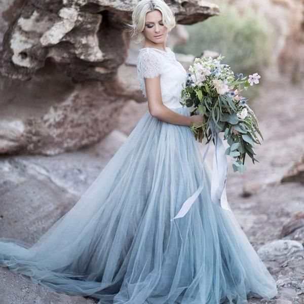 Non Traditional Wedding Dresses With Color: Floor Length Ice Blue Tulle Skirt Separate