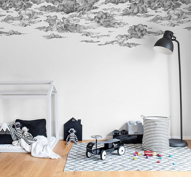 Cotton Skies Black Kinderzimmer Tapete Kinder Wandmalereien Und Wandbild Wand
