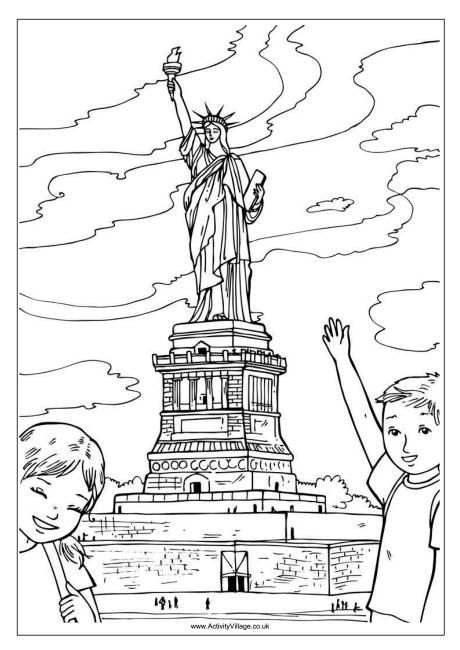 Statue Of Liberty Colouring Page With Images Travel Theme