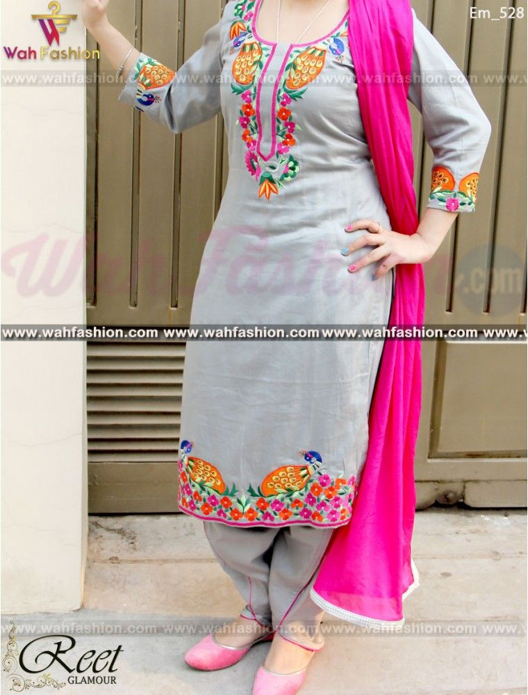 Resplendent Gray Embroidered Punjabi Suit Punjabi Suit Punjabi
