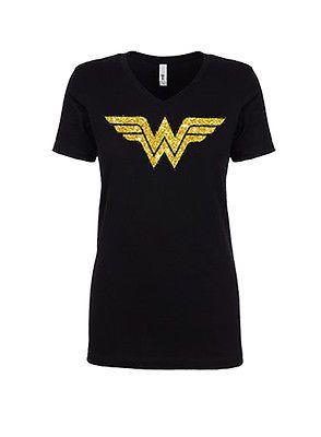 ec3cee4a DC Comics Glitter Wonder Woman Classic Ladies Girls Red Soft T-Shirt - US  SIZES