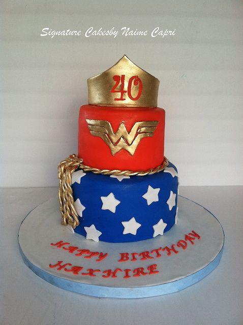 Cake Ideas For 40th Birthday Female : Wonder Women 40th birthday Cake 40 birthday cakes, 40 ...