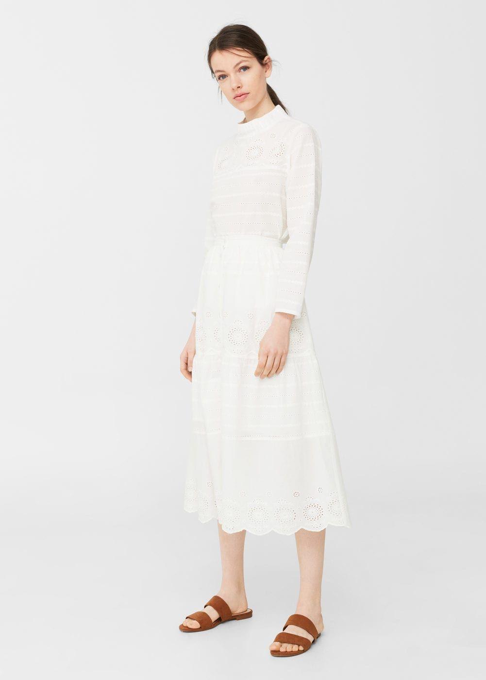 Jupe coton broderie | Jupe, Idées de mode et Habillé en blanc