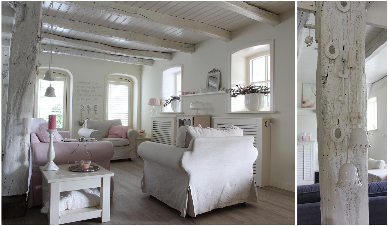 Landelijke en brocante woonkamer wit plafond  Home