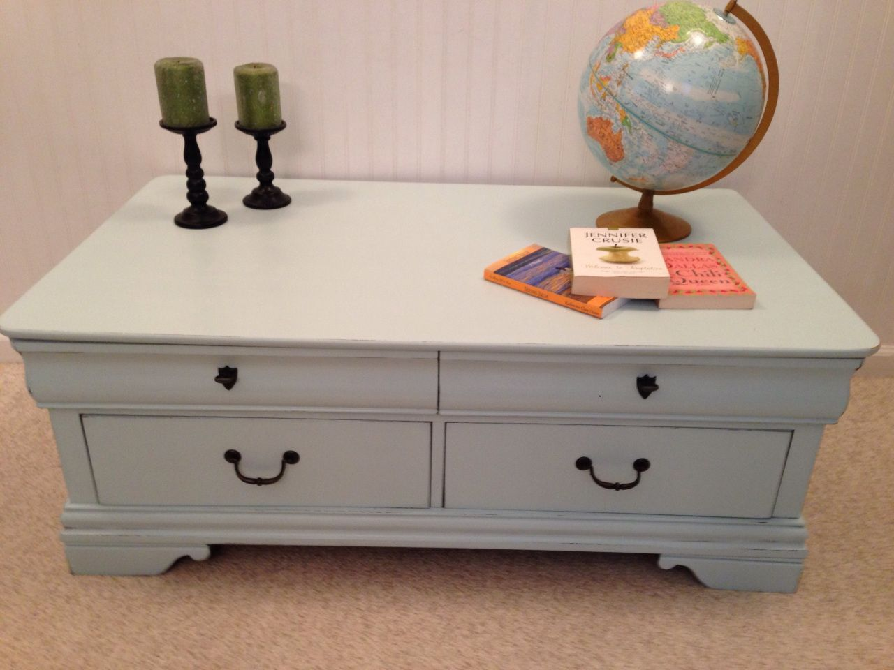 Broyhill  Drawer Coffee Table Refinished With Light Aqua Paint