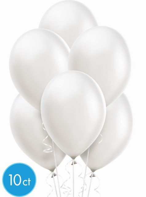 White Pearlized Latex Balloons 10ct