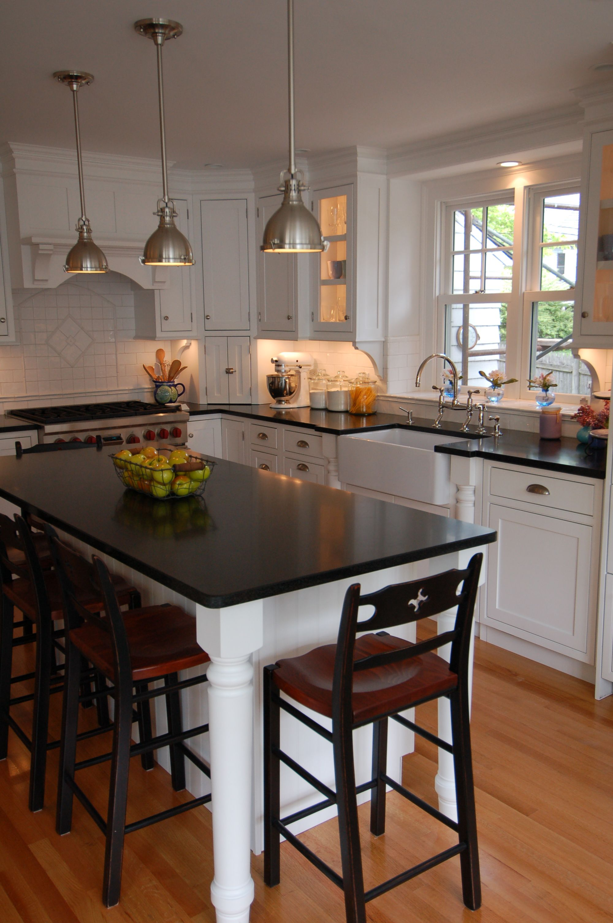 sink and stove location with island and lamps perfect kitchen design small on kitchen island ideas small layout id=41272