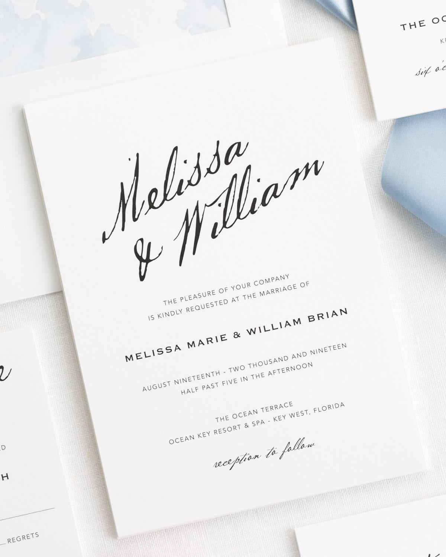 Modern Calligraphy Ribbon Wedding Invitations Fun