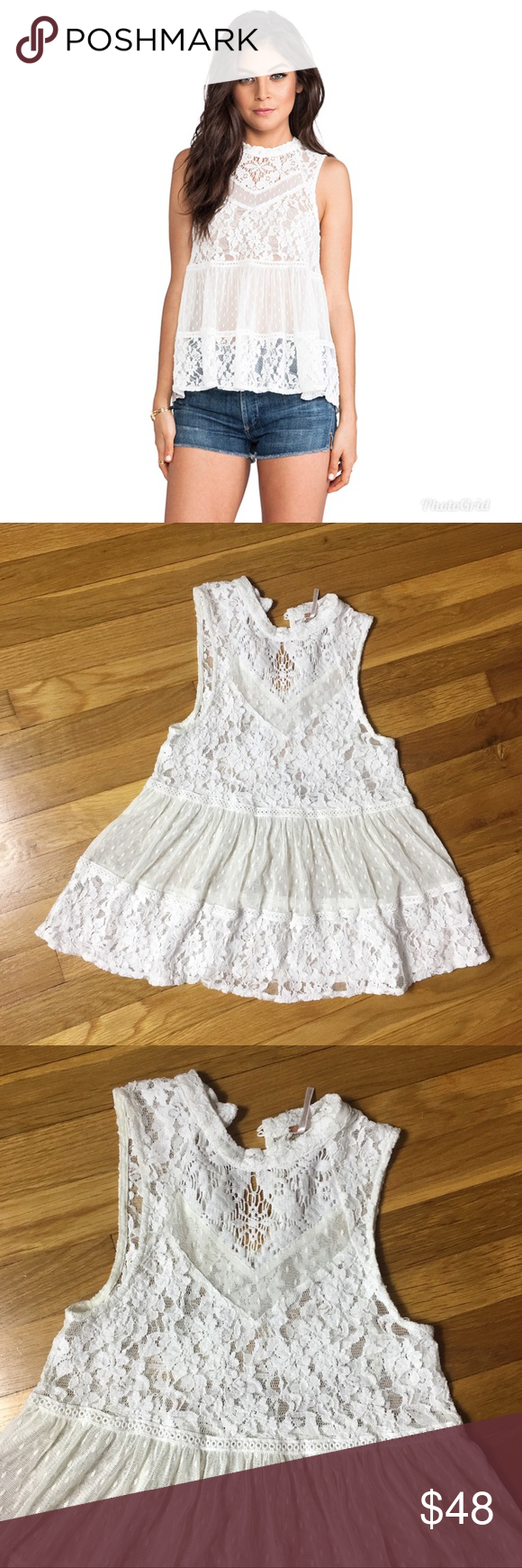 7ab9981c60d908 Free People ladybird lace tank size small Free People ladybird lace /  crochet sheer tank top with a mock neck, babydoll design, trendy flowy top  that you ...