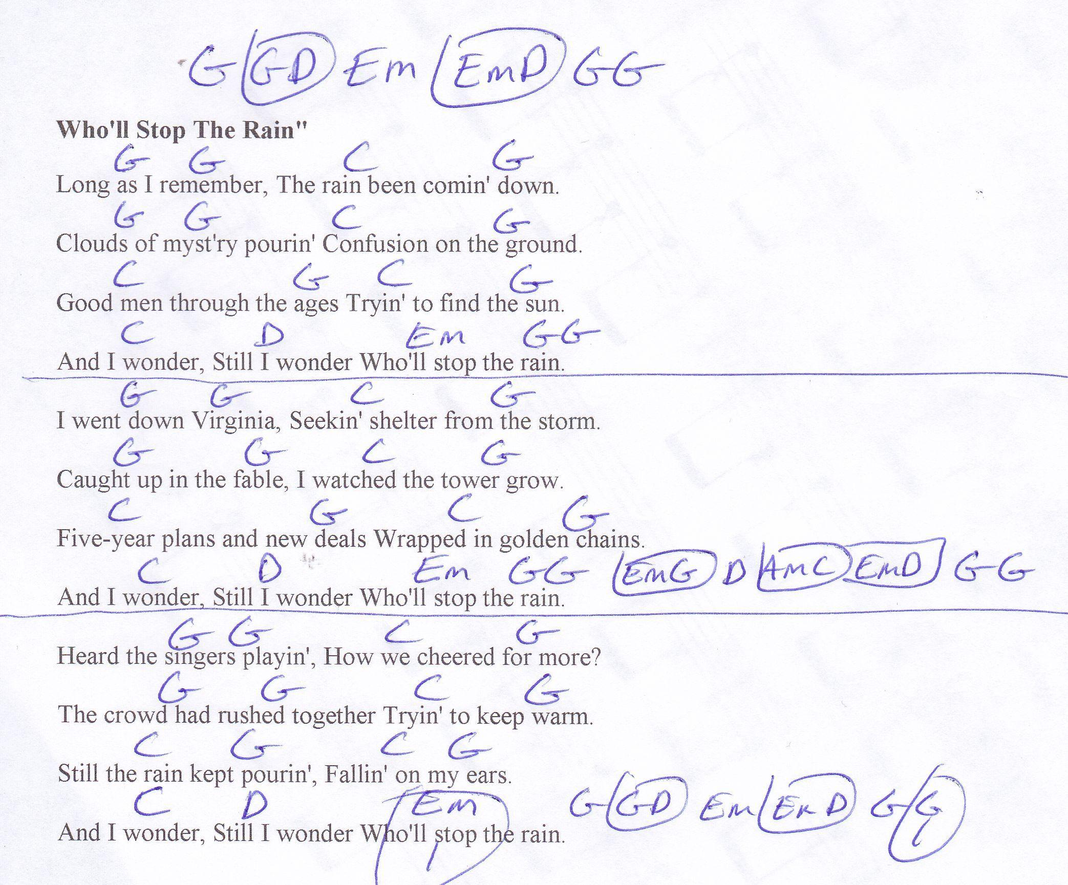 Wholl Stop The Rain Ccr Guitar Chord Chart Guitar Playing