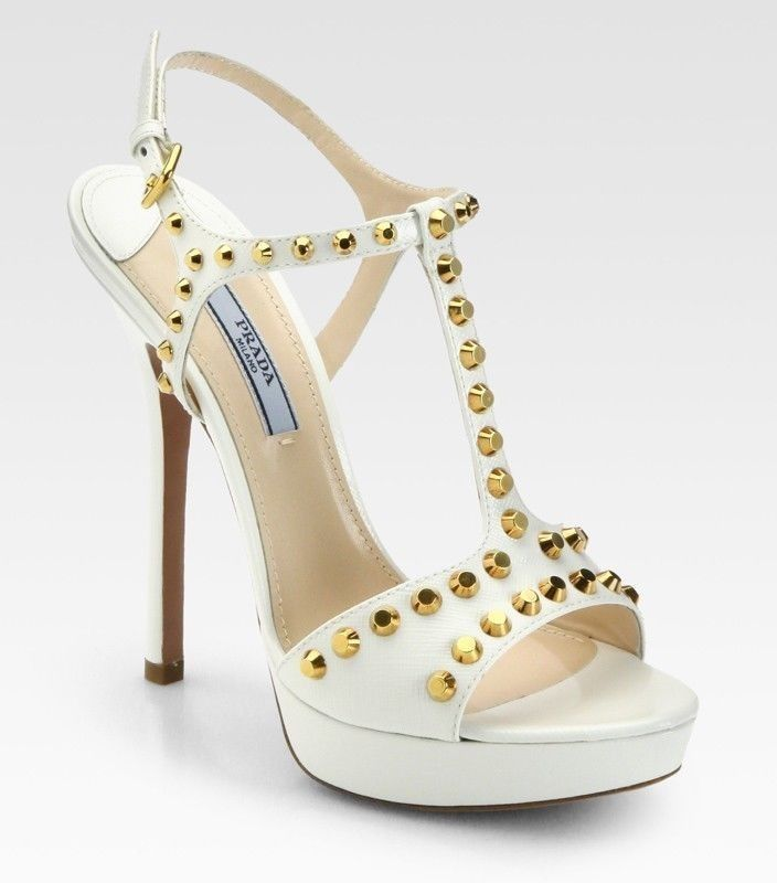 81c0aeaf119 Prada Shoes Studded White Saffiano Leather Platform Sandals