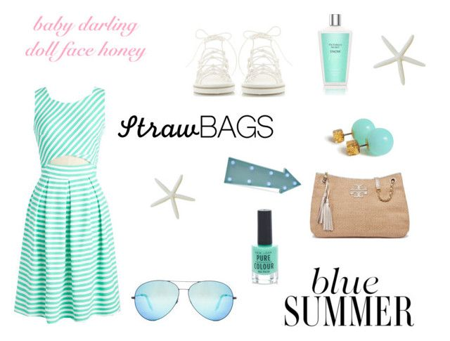 """""""blue straw"""" by lialicious ❤ liked on Polyvore featuring Tory Burch, Chloé, Victoria Beckham, New Look, Victoria's Secret and strawbags"""