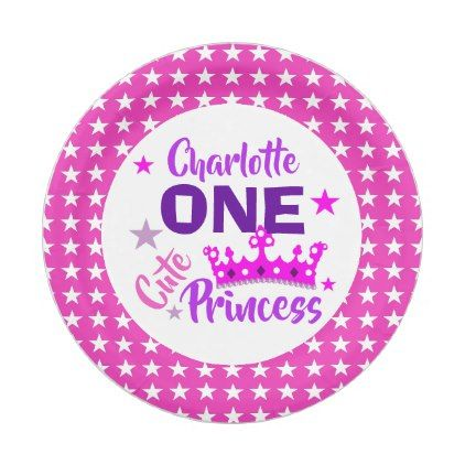 sc 1 st  Pinterest & One Cute Princess 1st Birthday Personalized Paper Plate