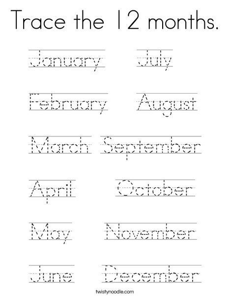 Printable Tracing Worksheets Months Of The Year In 2020 English Worksheets For Kids